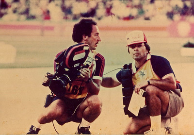 Chuck Cohen and his First AC Tony Rivetti on the infield of the LA Coliseum during the 1984 Summer Olympics Games, track and field events