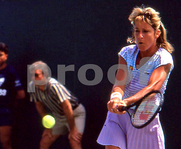 The Great Chris Evert hits backhand at 1982 US Open Tennis Championships, Flushing Meadow, NY