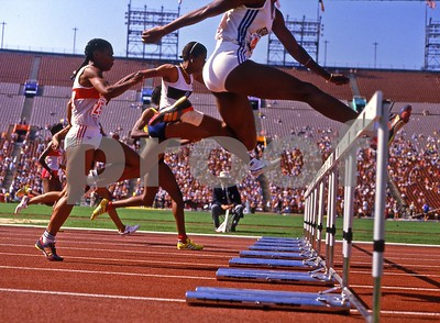 Women's 100meter hurdles,1984 Los Angeles Olympics track and field trials in the LA Coliseum