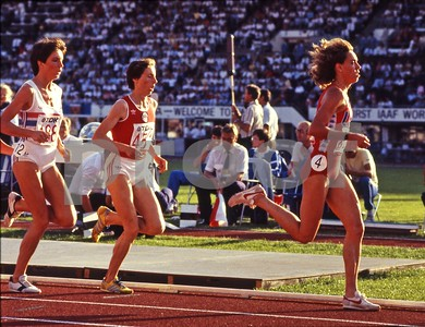USA's Mary Decker in the lead will win this 3,000 meter race final at the 1983 World Track and Field Championships in Helsinki, Finland.  The inaugural World Championships in Athletics was an 8-day event and was called the greatest track and field event in history.