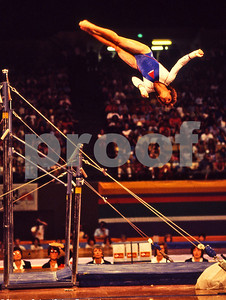 Gold Medal Winner Mary Lou Retton of the USA dismounts the parallel bars at the 1984 Los Angeles Olympics