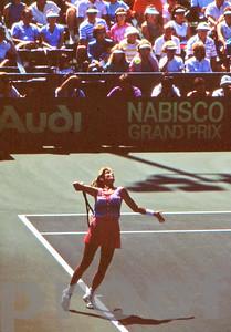 Chris Evert serves at 1982 US Open Tennis Championships