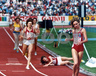 Russian Zamira Zaytseva looks up after falling at the finish line to see the USA's Mary Decker, winner of the 1,500 meter final at the World Track and Field Championships in Helsinki, Finland in 1983.
