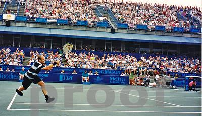 Andre Agassi during the Washington DC Legg Mason Tournament, 1995