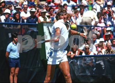 Bjorn Borg cranks a forehand at John McEnroe in the 1981 US Open, NY.