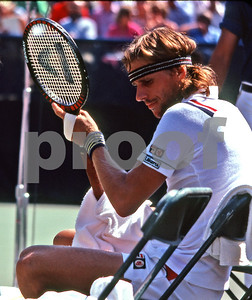 Borg relaxes between games vs McEnroe at 1981 US Open Tennis Tournament