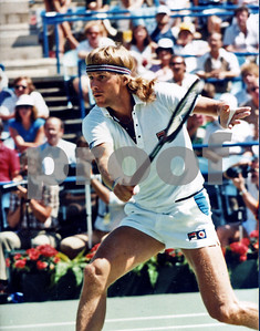 Borg rushes the net vs McEnroe in 1981 US Open Tennis Tournament Final Match