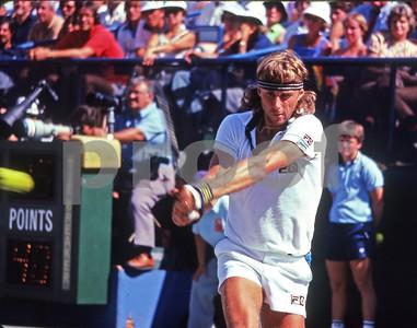 Bjorn Borg hits backhand shot at US Open, Flushing Meadows, NY, 1981