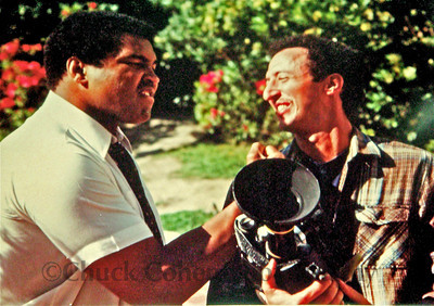 Muhammad Ali and Chuck Cohen clowing around.  Chuck was filming a documentary on Ali for German TV.  This was the first week of work outs for his Oct 1980 comeback fight against Larry Holmes, which he would lose.