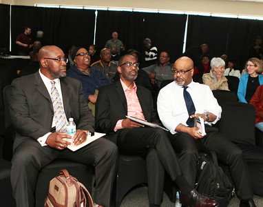 Dr Billy Hawkins ,Simmmons College President Dr Cosby , Dr Boyce Watkins chat before Forum