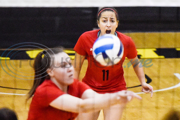 Trinity Valley Community College's Yasmim da Silva (11) shouts as teammate Ana Paula Zandona (12) sets the ball during a college volleyball game at Tyler Junior College in Tyler, Texas, on Wednesday, Sept. 19, 2018. (Chelsea Purgahn/Tyler Morning Telegraph)