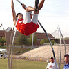 Chris Winkle of Daniel Boone wins the boys pole vault with a vault of 11'. The Times News realays continue Friday. Photo by Ned Jilton II