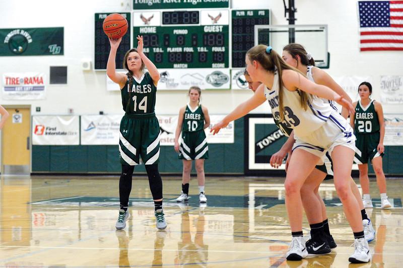 Joel Moline | The Sheridan Press<br /> Tongue River's Linsey Trischler (14) makes a free throw against Thunder Basin High School junior varsity Saturday,  Jan. 11, 2019.