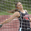 Cherokee's Courtney Brooks in the girls discus at the Times News Relays. Photo by Ned Jilton II