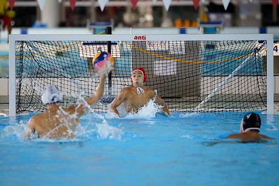 Players in action during Singapore Water Polo National League on 13 October 2018 at Our Tampines Hub. Photo by SANKETA ANAND/SportSG