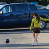 Girl in Green Sweatshirt and Soccer Ball