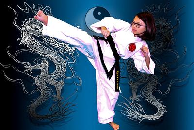 girl kick with glasses