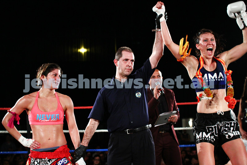 5-10-13. Road to Rebellion 2. Muay Thai boxing at Power House, Albert Park. Tali Silberman (left) v Claire Foreman. Foreman defeats Silberman in unamimous points decision. Photo: Peter Haskin