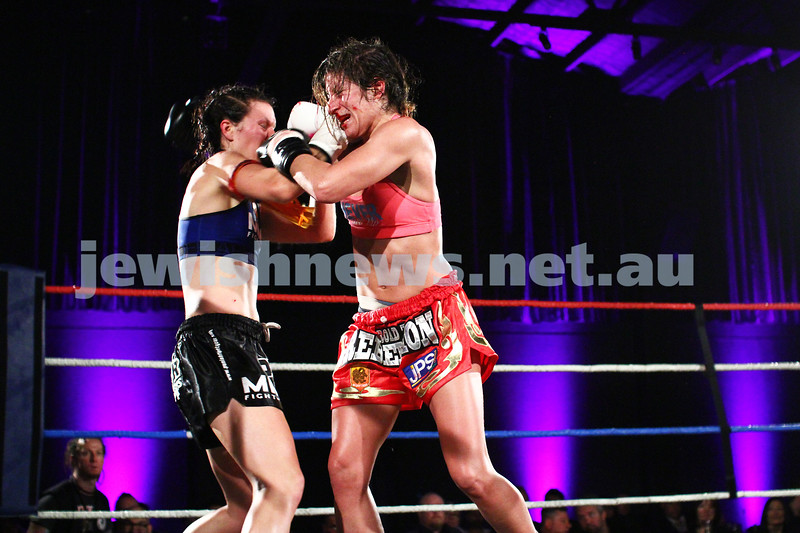 5-10-13. Road to Rebellion 2. Muay Thai boxing at Power House, Albert Park. Tali Silberman (right) v Claire Foreman. Foreman defeats Silberman in unamimous points decision. Photo: Peter Haskin