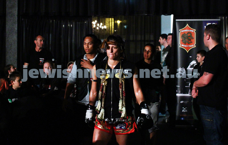 5-10-13. Road to Rebellion 2. Muay Thai boxing at Power House, Albert Park. Tali Silberman v Claire Foreman. Foreman defeats Silberman in unamimous points decision. Silberman entering the ring. Photo: Peter Haskin