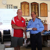 WIOA Executive Officer George Wall presents the Charity Cheque to Gordon Macfield from the Campbell Town Fire Brigade