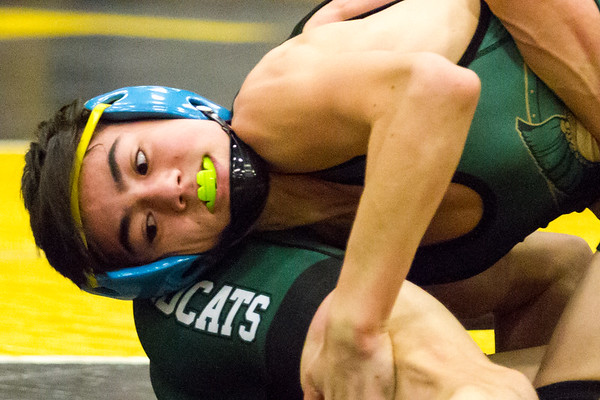 Record-Eagle/Brett A. Sommers Traverse City West's Damien Ballan grapples with Alpena's Branden Zann during Wednesday's team district wrestling meet at Traverse City Central High School. West defeated Central 43-29 and Alpena 51-19 to win its third straight district title.