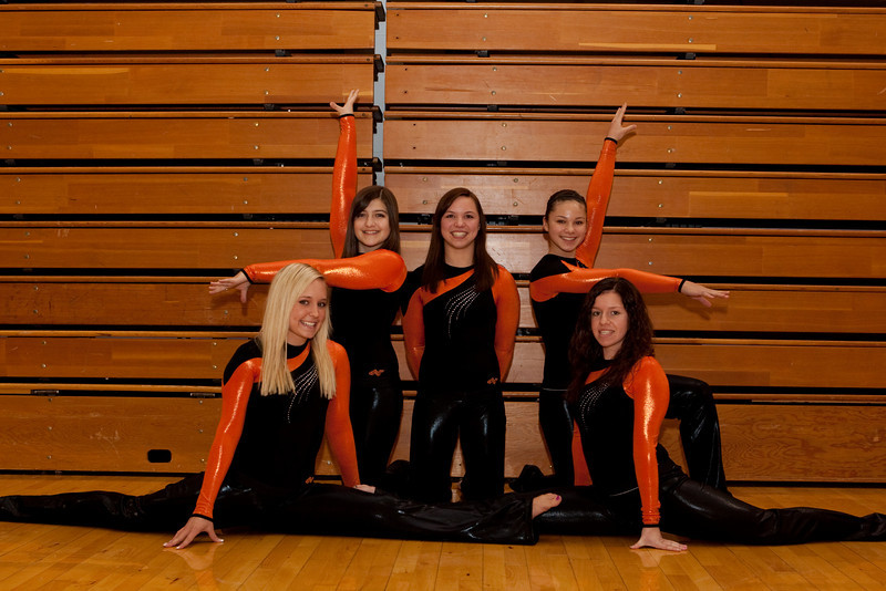 Gymnastics<br /> Back Sierra Roshau, Jenna Mueller, Jill Mueller<br /> Front: Brooke Sickler, Melissa Bachamp