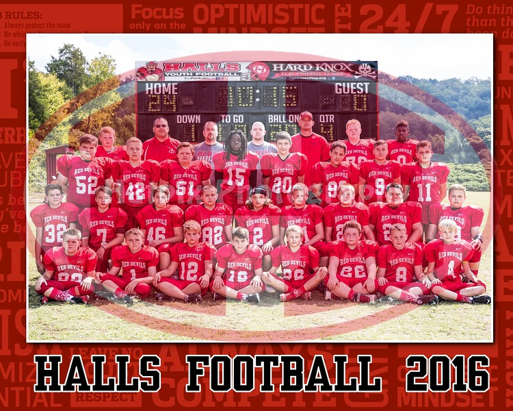 11u halls tackle football teams