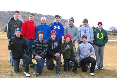 Gering Boy's Golf Front Row: (Front Row Left to Right) Mason Marsh, Mark Montaque, Damian Hort, Logan VanAnne, Baily Hort.  (Back Row Left to Right) Brock Belgum, Davis Eskam, Austin Rogers, Justin Schwartzkoph, Austin Kantmav, Kraiger Ebbers, Alex Lupher.