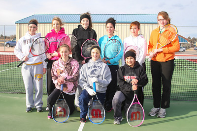 Gering Girl's Tennis Front Row: (Front Row Left to Right)  Samantha Gutherless, Jessica Helt, Jennifer Mejia, (Back Row Left to Right) Katie Collins, Marlee Lupher, Savannah Walker, Brittany Moreno, Tiesha Steinman, Kaitlyn Wagoner