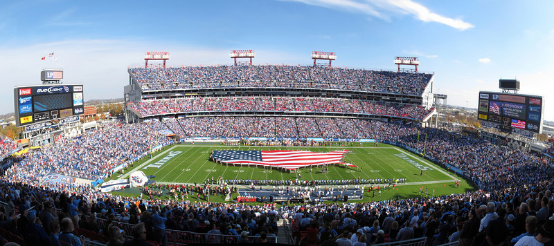 Panorama of the Titans stadium shot just before the Nov 19, 2010 game with the Redskins. This was during the anthem. It is 6 photos stitched together with Hugin panotools.