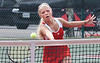 Wise Central's Hannah Barnette at the net during Region D girls Tennis doubles finals against Gate City at UVA-Wise. Photo by Ned Jilton II