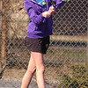 Emily Smith of Gate City hits shot during doubles match of her and Rosie Smith against Josie and Evelyn Rogers of Dobyns Bennett. Photo by Ned JIlton II