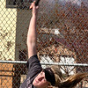 Josie Rogers hits serve during doubles match vs Gate City. Photo by ned Jilton II