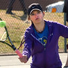 Emily Smith of Gate City hits shot during doubles match of her and Rosa Smith against Josie and Evelyn Rogers of Dobyns Bennett. Photo by Ned JIlton II