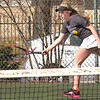 Josie Rogers runs down shot during doubles match against Gate City. Photo by Ned Jilton II