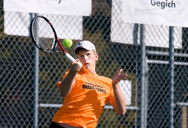 Record-Eagle/Keith King<br /> Elk Rapids' Donnie Fedrigon competes in number one singles against Ludington's Jake Perez Thursday, October 6, 2011 at Traverse City Central High School.