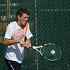 Record-Eagle/Keith King<br /> Ludington's Spencer Knudsen competes against Elk Rapids' Josh Mosher at number two singles Thursday, October 6, 2011 at Traverse City Central High School.