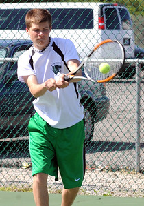 Brent Zifcak of Elyria Catholic singles tennis May 4.  Steve Manheim