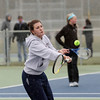Record-Eagle/Keith King<br /> TC Christian's Nicole Shanoski hits the ball during number one doubles competition against Manistee Tuesday, April 10, 2012 at TC Christian.