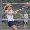 Record-Eagle/Keith King<br /> Traverse City St. Francis' Diana Matuszak hits the ball during number one singles competition against Charlevoix Monday, May 7, 2012 at Traverse City East Middle School.