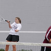 Record-Eagle/Keith King<br /> Charlevoix's Emily Roloff hits the ball during number one doubles competition against Traverse City St. Francis Monday, May 7, 2012 at Traverse City East Middle School.