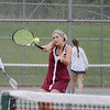 Record-Eagle/Keith King<br /> Charlevoix's Kelsey Way hits the ball during number one singles competition against Traverse City St. Francis Monday, May 7, 2012 at Traverse City East Middle School.