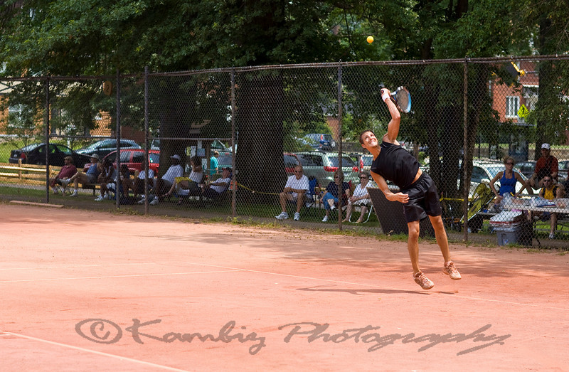 David Fink Serving, Paul G. Sullivan Clay Court Tennis Championship at Frick Park