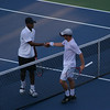Donald Young and Dudi Sela shaking hands after Dudi's win in straight sets over Young.