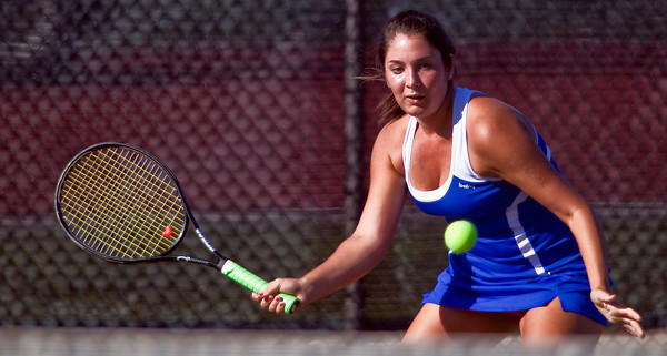Bexley High School's  Becca Landon in action while playing against Dublin Coffman High School's tennis team Wednesday afternoon September 2, 2009 at Dublin Coffman High School. (Photo by James D. DeCamp 614-462-8027)
