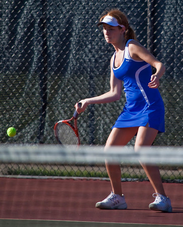 Bexley High School's  Brawnie Petrov in action while playing against Dublin Coffman High School's tennis team Wednesday afternoon September 2, 2009 at Dublin Coffman High School. (Photo by James D. DeCamp 614-462-8027)