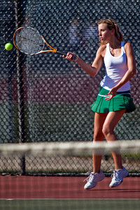 Dublin Coffman High School's Ali Tzagournis in action while playing against Bexley High School's tennis team Wednesday afternoon September 2, 2009 at Dublin Coffman High School. (Photo by James D. DeCamp 614-462-8027)