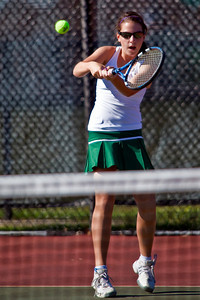 Dublin Coffman High School's Meghan Letizia in action while playing against Bexley High School's tennis team Wednesday afternoon September 2, 2009 at Dublin Coffman High School. (Photo by James D. DeCamp 614-462-8027)