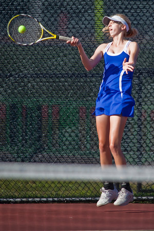 Bexley High School's  Corinne Rauck in action while playing against Dublin Coffman High School's tennis team Wednesday afternoon September 2, 2009 at Dublin Coffman High School. (Photo by James D. DeCamp 614-462-8027)